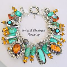 Schaef Designs Turquoise Orange Spiny Oyster & Sterling Silver Charm Bracelet with Bennie Ration Charm | New Mexico | New Mexico