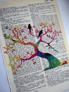 Tree of Life Vintage  English to French Dictionary by woodendoll, $8.50