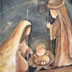 Nativity on recycled wood frame window screen by RebecaFlottArts