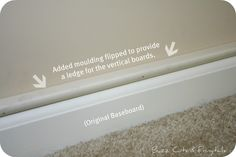 The best solution I've seen so far for how to use board and batten with existing baseboards that don't accommodate it. Just add a piece of trim above the baseboard to act as a ledge.