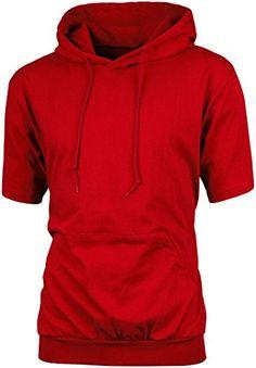 Angel Cola Men's Short Sleeve Plain Cotton Lightweight Hoodie Shirts...