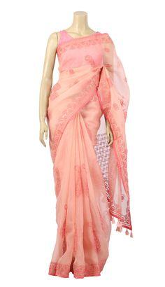 Pastel Pink Hand Embroidered Muslin Saree