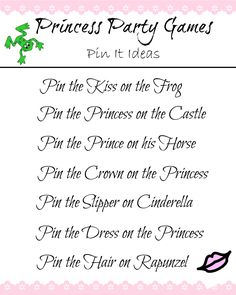 Pin the... Princess Party Game Ideas.  A princess twist on Pin the tail on the donkey.  So cute!!  #princess #princessparty #partyideas #partygames #cinderella #rapunzel #itsaprincessthing