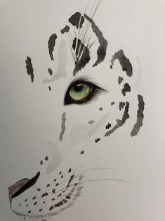 Watercolour painting of snow leopard Snow Leopard Drawing, Snow Leopard Tattoo, Leopard Tattoos, Animal Sketches, Animal Drawings, Art Drawings, Learn Art, Cat Tattoo, Wildlife Art
