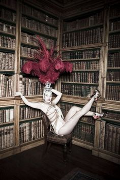 I always wear my showgirl outfit to the library.  #vargas #circus