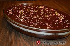 Great recipe for Karidopita with pudding and chocolate glaze. This is one of the best sweets that I have ever tasted! I couldn't stop drooling while I was making it! Greek Sweets, Greek Desserts, Greek Recipes, Pureed Food Recipes, Dessert Recipes, Cooking Recipes, Chocolate Glaze Recipes, Chocolate Ganache, Cyprus Food