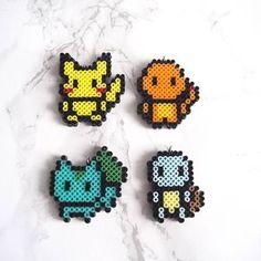Pokemon starter mini perler bead sprites- pikachu, charmander, bulbasaur, squirtle