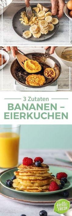 Rezept: Mit nur 3 Zutaten Eierkuchen selber machen Leckeres und einfaches Rezept für schnelle Pfannkuchen. Du brauchst nur Eier, Bananen und etwas Backpulver. Die Eierkuchen sind sogar glutenfrei, laktosefrei und kalorienarm! Low Carb Bananen Eierkuchen perfekt für Frühstück und Brunch! #hellofreshde #kochen #essen #kochbox #ernährung #lecker #gesund #leicht #schnell #frühling #einfach #eierkuchen #pfannkuchen #lowcarb #glutenfrei #laktosefrei #3zutaten #frühstück #brunch #bananenpfannkuchen