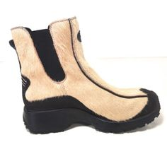 TECNICA TAN PONY ANIMAL HAIR BLACK SNOW SKI WINTER SPORT ANKLE BOOTS 36 5.5