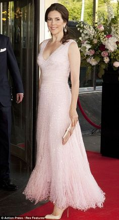 HRH Mary, Crown Princess of Denmark, Countess of Monpezat, wearing a pink floor-length gown.