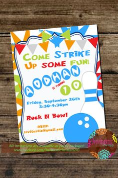Bowling Birthday Party Invitation  Printable by InvitasticInvites, $10.00