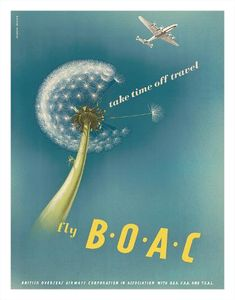 1960/'s BOAC Flights To Swinging London Poster A3 Print