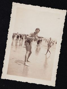 Old Antique Photograph Man in Bathing Suit Play Boxing At the Beach Rockaway '39