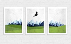 Printable Mountain Eagle Green Mountain Shades Poster Print