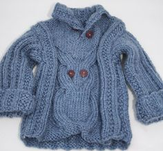 Hand knitted baby sweater hand knitted owl by sweetygreetings