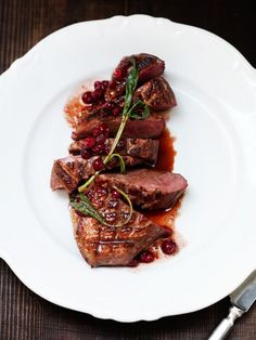 duck, with cranberry sauce and sage