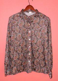 M L Medium Large Vintage Shirt Paisley 70s by PinkCheetahVintage
