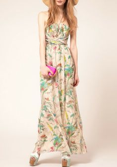 Multicolor Floral Top Fascia Floor Length Dress