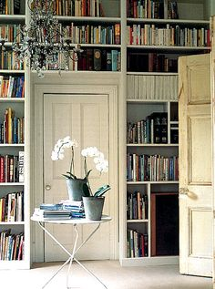 lovely library wall, love it when the shelves are also above the door.