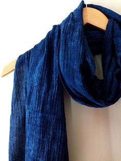 Indigo Summer Scarf- Hand dyed with indigo, light cotton