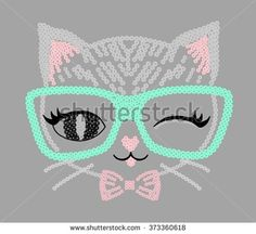 embellished cat graphic for t-shirt - stock photo