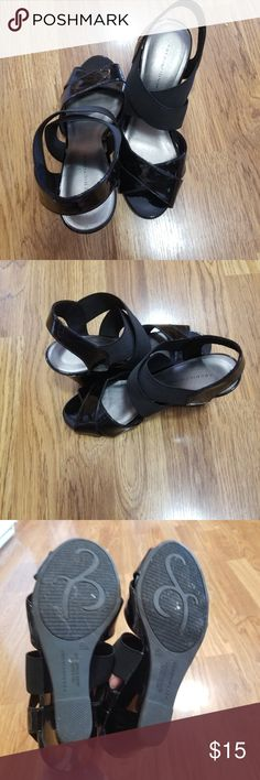 Black Strappy Wedges Wedges from Predictions. Stretchy top straps make them easy to slip on. No known blemishes. Hardly ever worn. Predictions Shoes Wedges