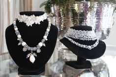 """Ansia Jonck's custom jewellery with Swarovski Elements and crystals; exclusively at """"La Boutique"""" Boutique, Cape Town, Custom Jewelry, Pearl Necklace, Swarovski, Jewellery, Couture, Pearls, Crystals"""