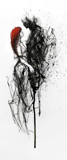 This makes me think of Persephone and Hades– either that or Tom Riddle Jr. and Ginny Weasley .This makes me think of Persephone and Hades– either that or Tom Riddle Jr. and Ginny Weasley Agnes Cecile, Creation Art, Arte Horror, Wow Art, Colorful Paintings, Dark Paintings, Abstract Paintings, Watercolor Paintings, Oeuvre D'art