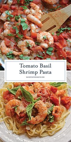 Tomato Basil Shrimp Pasta is an easy and healthy shrimp pasta recipe. It's great… Tomato Basil Shrimp Pasta is an easy and healthy shrimp pasta recipe. It's great for busy weeknights but full of flavor and sure to impress guests! Basil Recipes, Shrimp Pasta Recipes, Healthy Pasta Recipes, Healthy Pastas, Seafood Recipes, Healthy Shrimp Pasta, Food Shrimp, Healthy Food, Cajun Shrimp
