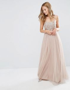 Maya+Cami+Strap+Maxi+Dress+with+Tulle+Skirt+and+Embellishment