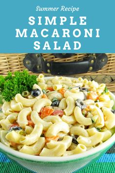 A simple macaroni salad recipe.  We are sharing one of our favorite and very colorful macaroni salad recipes today. #simplemacaronisalad #myturnforus #macaronisalad #picnicsalad #bbqside #colorfulmacaronisalad Pasta Recipes, Salad Recipes, Dinner Recipes, Picnic Recipes, Summer Salads, Summer Food, Easy Macaroni Salad, Picnic Foods, Fresh Fruits And Vegetables