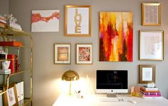 Design Manifest: room inspiration from Erika of Small Shop Studio-- I really like the gold being played up in the frames and shelving. Nice warmth.