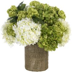 Hydrangeas in burlap jar.    This would be super easy to do!