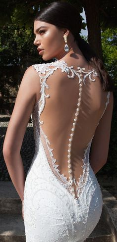 Stunning illusion back wedding dress with exquisite pearl detailing