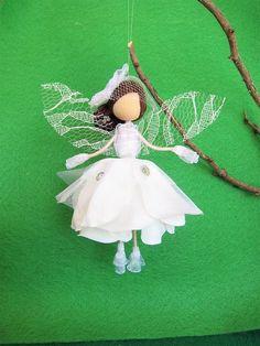 Flower fairy doll white Christmas flower fairy handmade