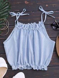SHARE & Get it FREE | Cropped Tied Straps Striped Crop Top - Stripe SFor Fashion Lovers only:80,000+ Items • New Arrivals Daily Join Zaful: Get YOUR $50 NOW!