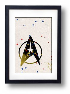Star Trek Logo watercolor illustration art wall by ThunderDoam Star Trek Logo, Star Trek Theme, Star Illustration, Watercolor Illustration, Star Trek Gifts, Star Trek Wedding, Gaming Posters, Nerd Room, Living Room Art