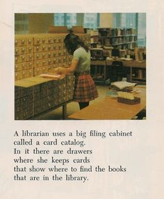 "Explanation of the card catalog; entry is implied by the post to be from ""The How and Why Library,"" date unknown."