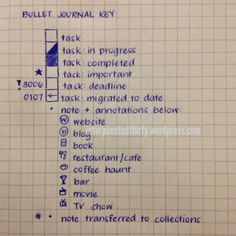Bullet Journal Key | Chic and Petite