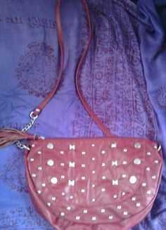 Vintage leather RED  Purse  studded PUNK rocker RETRO   chain strap #Fashion #Style #Deal