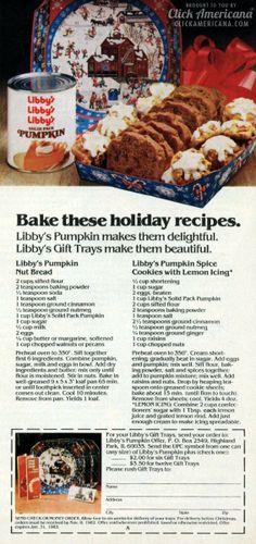 Pumpkin Spice Cookies & Pumpkin Nut Bread (1982)  Read more at http://clickamericana.com/topics/food-drink/pumpkin-spice-cookies-pumpkin-nut-bread-1982 | Click Americana