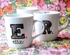 Monogrammed Coffee Mug Initial and Name van GreySkiesBlue op Etsy, $17.50