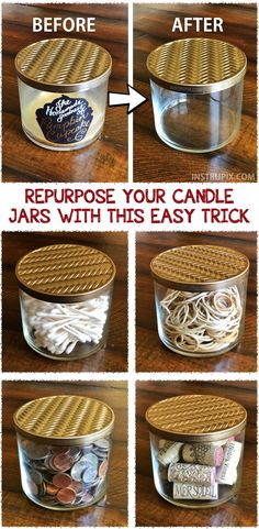 How to get wax out of candle jars the easy way! This easy life hack is the easiest way to upcycle. They are so useful keeping small items organized. | Instrupix