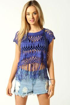 Charlotte Crochet Knit Tassel Crop Top - cute for summer!