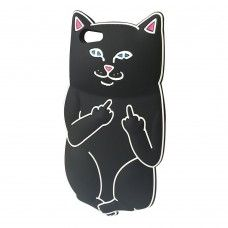 iPhone 6 6s Plus 5.5 - 3D Silicone Cartoon Cute Soft Protective Phone Cover Case - Black Middle Finger Cat