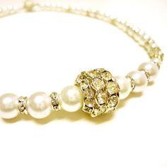 Pearl Necklace Pearl Jewelry Wedding Jewelry Handmade Bridal Jewelry Crystal Jewellery Princess Retro Glamour Timeless, $40