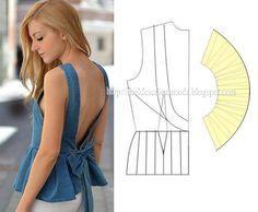 Blusa peplum com decote V costas