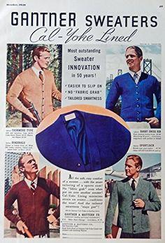 Gantner Sweaters, print ad. 30's Men's Fashions Color Illustration, print art. Original Rare 1939 Esquire Magazine Art