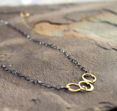 Mixed Metal Delicate Vermeil Rings Oxidized Sterling by StringerBs, $30.00
