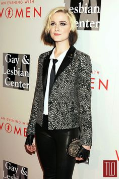 """Evan Rachel Wood attends The L. Gay & Lesbian Center's 2014 """"An Evening With Women"""" benefit in Beverly Hills, California in a The Kooples jacket with leather trim paired with J Brand pants and a Christian Louboutin clutch and flats. Jamie Bell, Fashion Sewing, All Fashion, Fashion Beauty, Smoking, Dip Dye Hair, Evan Rachel Wood, Kooples, Satin Shirt"""